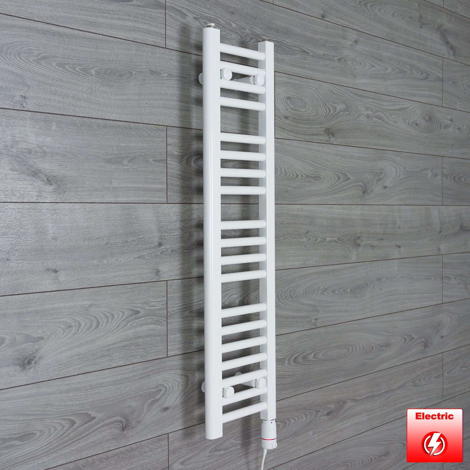 250mm Wide 1000mm High Pre-Filled Chrome Electric Towel Rail Radiator With Thermostatic GT Element