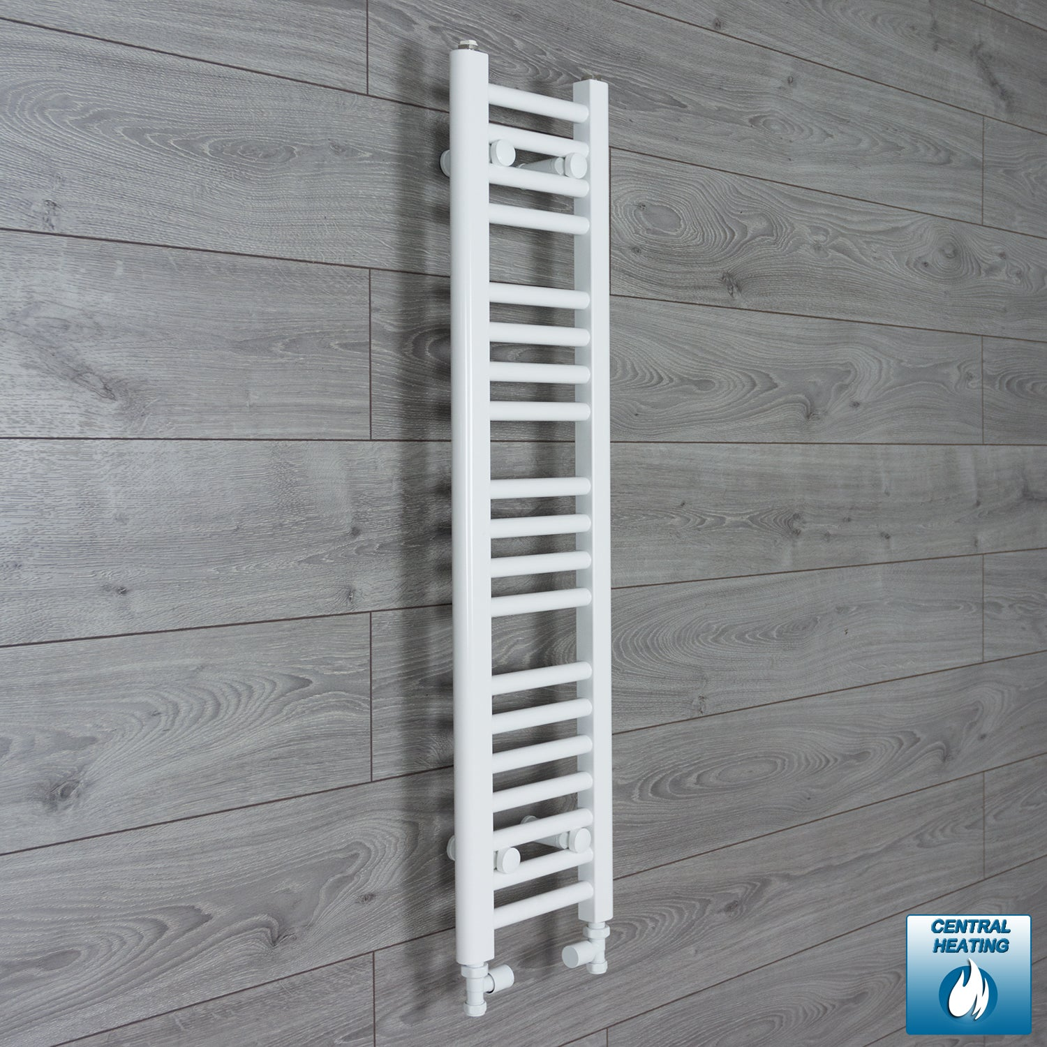 200mm Wide 1000mm High White Towel Rail Radiator With Straight Valve