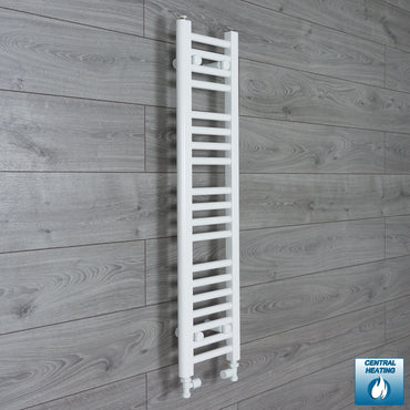 250mm Wide 1000mm High White Towel Rail Radiator With Straight Valve