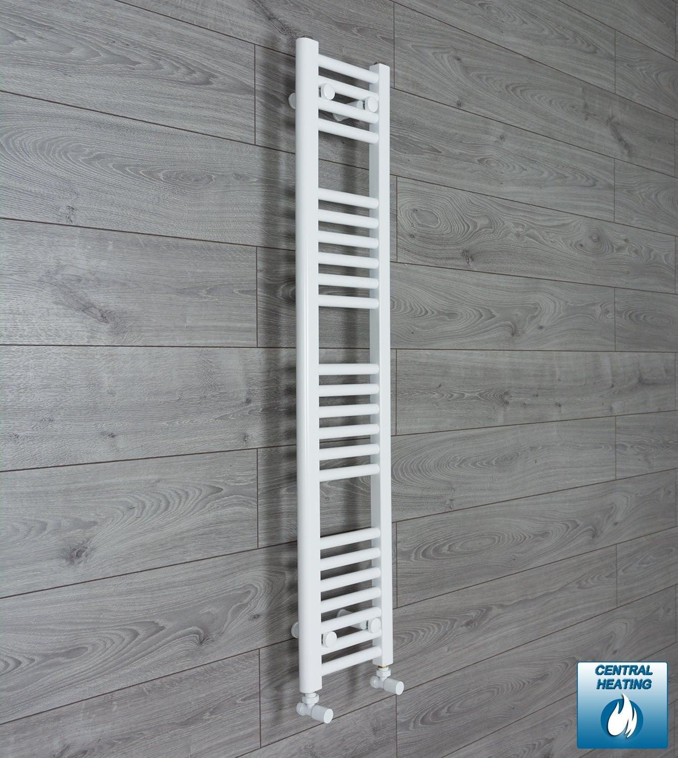 250mm Wide 1200mm High White Towel Rail Radiator With Angled Valve