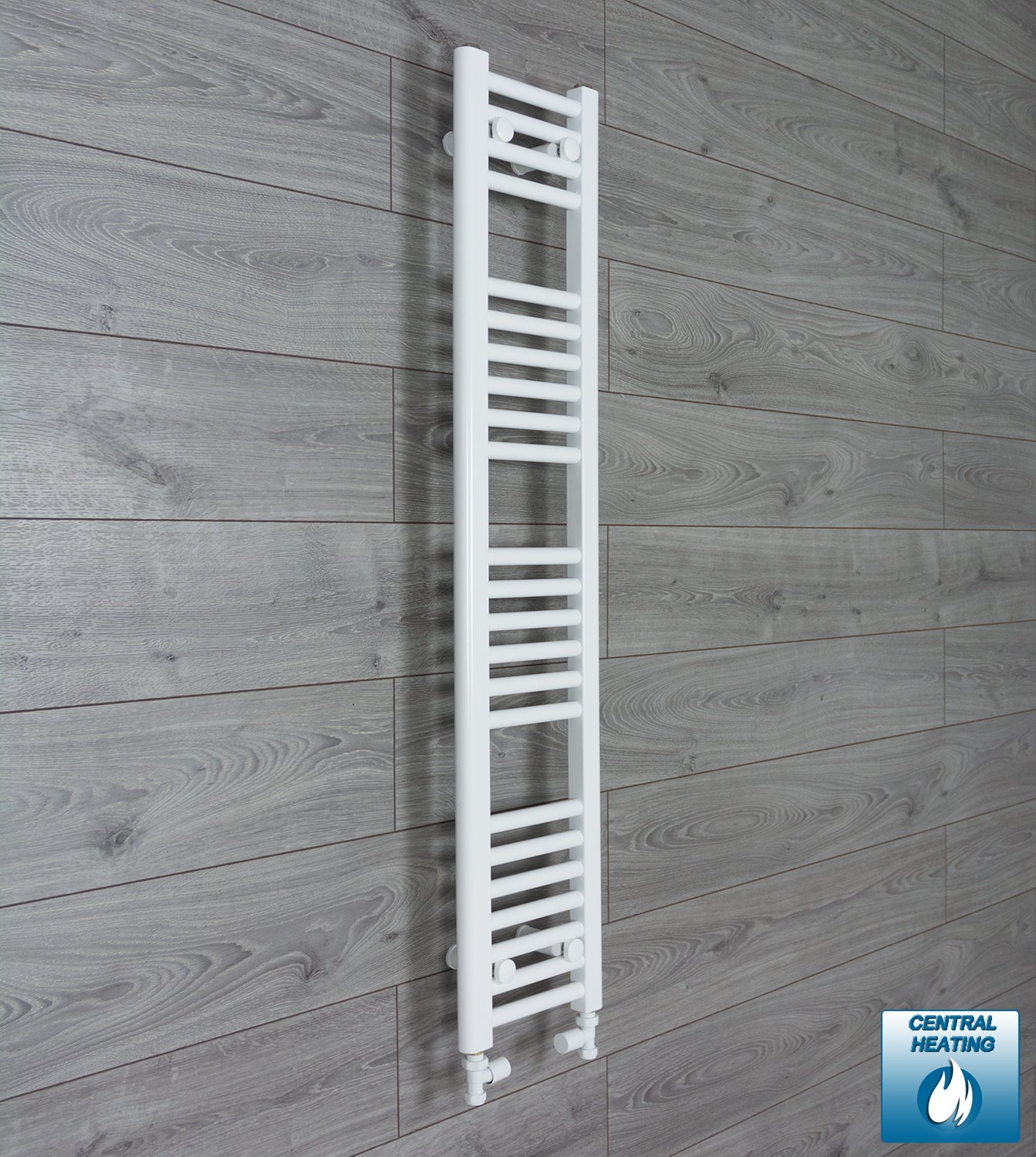 250mm Wide 1200mm High White Towel Rail Radiator With Straight Valve