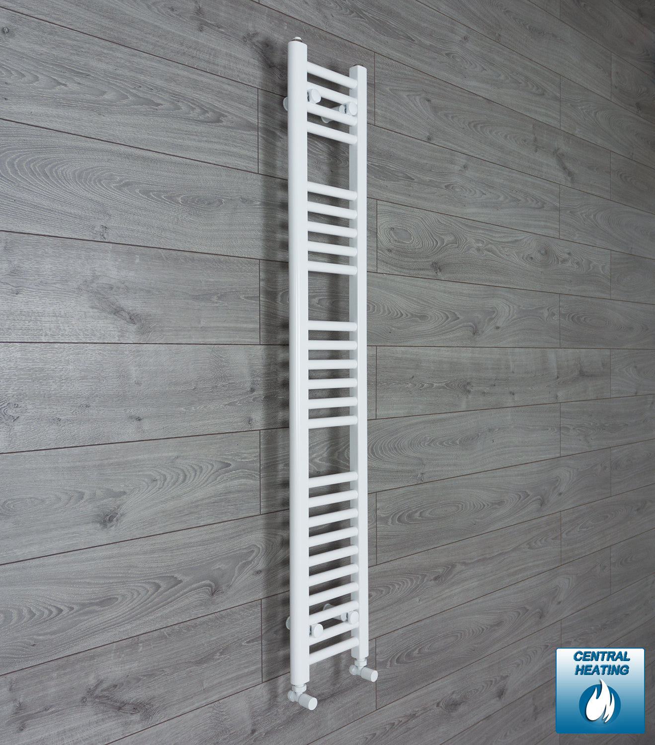200mm Wide 1400mm High White Towel Rail Radiator With Angled Valve