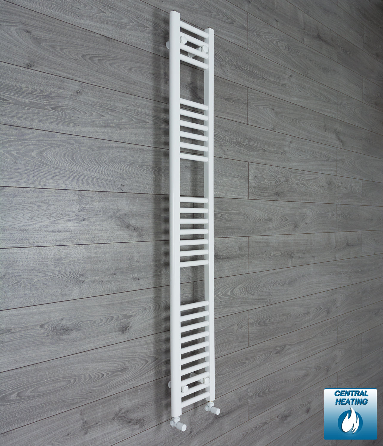 200mm Wide 1600mm High White Towel Rail Radiator With Angled Valve