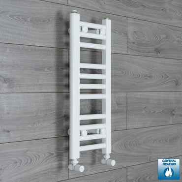 200mm Wide 600mm High White Towel Rail Radiator With Angled Valve