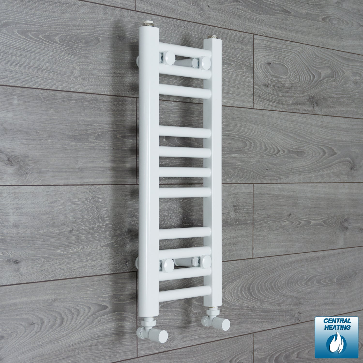 300mm Wide 600mm High White Towel Rail Radiator With Angled Valve