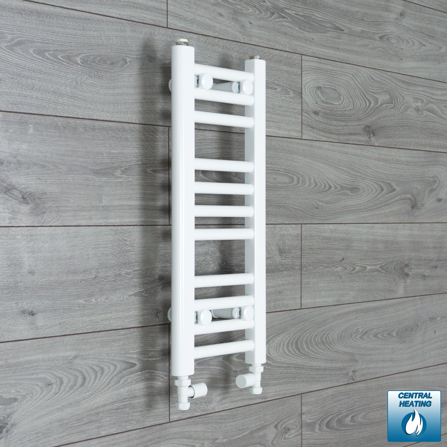 300mm Wide 600mm High White Towel Rail Radiator With Straight Valve
