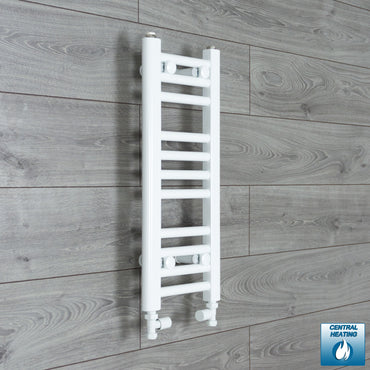 250mm Wide 600mm High White Towel Rail Radiator With Straight Valve