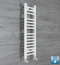 Load image into Gallery viewer, 250mm Wide 800mm High White Towel Rail Radiator With Angled Valve