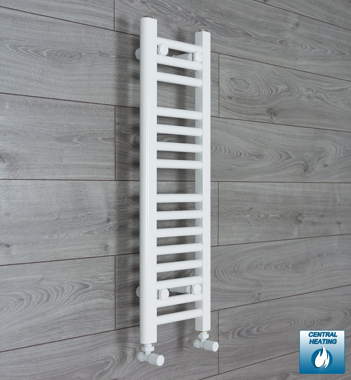 250mm Wide 800mm High White Towel Rail Radiator With Angled Valve