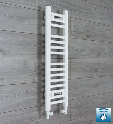 250mm Wide 800mm High White Towel Rail Radiator With Straight Valve
