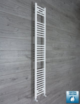 350mm Wide 1800mm High White Towel Rail Radiator With Angled Valve