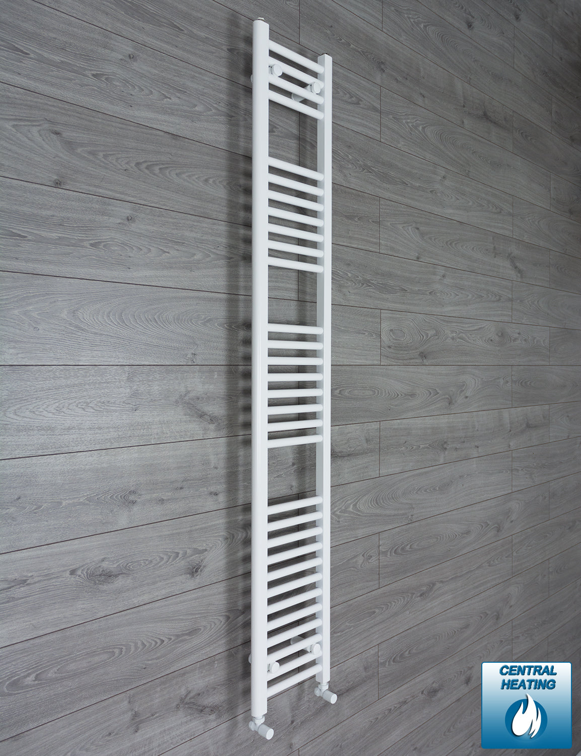 300mm Wide 1800mm High White Towel Rail Radiator With Angled Valve