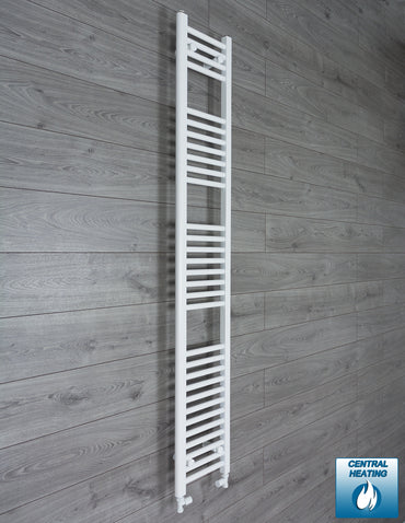 250mm Wide 1800mm High White Towel Rail Radiator With Straight Valve