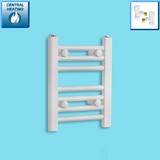 300mm Wide 400mm High White Towel Rail Radiator With Angled Valve