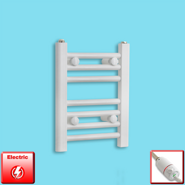 300mm Wide 400mm High Pre-Filled White Electric Towel Rail Radiator With Thermostatic GT Element