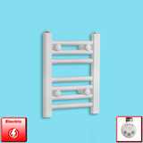 300mm Wide 400mm High Pre-Filled White Electric Towel Rail Radiator With Thermostatic MOA Element