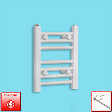 300mm Wide 400mm High Pre-Filled White Electric Towel Rail Radiator With Single Heat Element