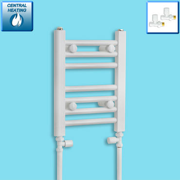 300mm Wide 400mm High White Towel Rail Radiator With Straight Valve
