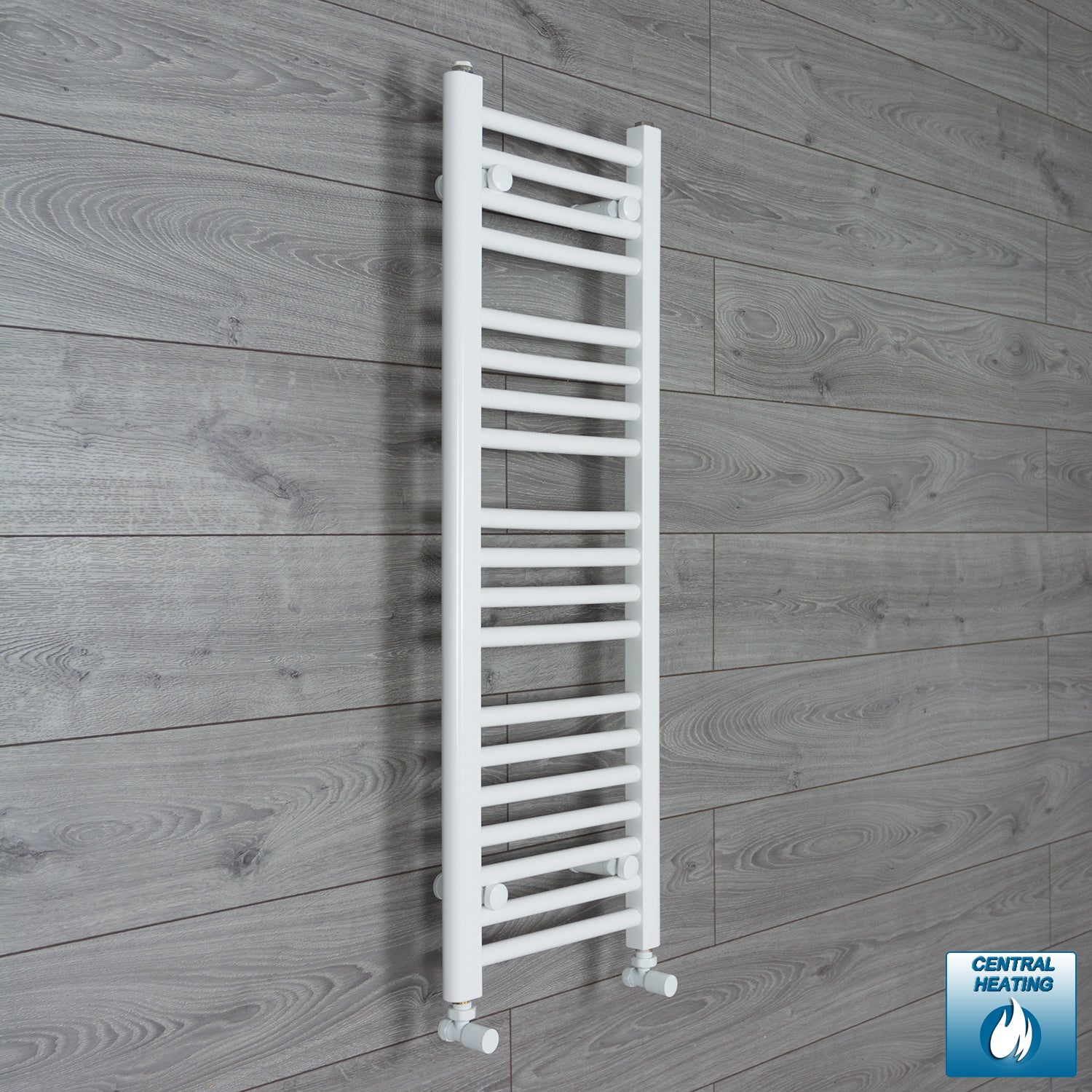 350mm Wide 1000mm High White Towel Rail Radiator With Angled Valve