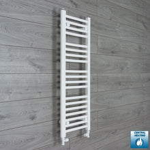 Load image into Gallery viewer, 350mm Wide 1000mm High White Towel Rail Radiator With Straight Valve