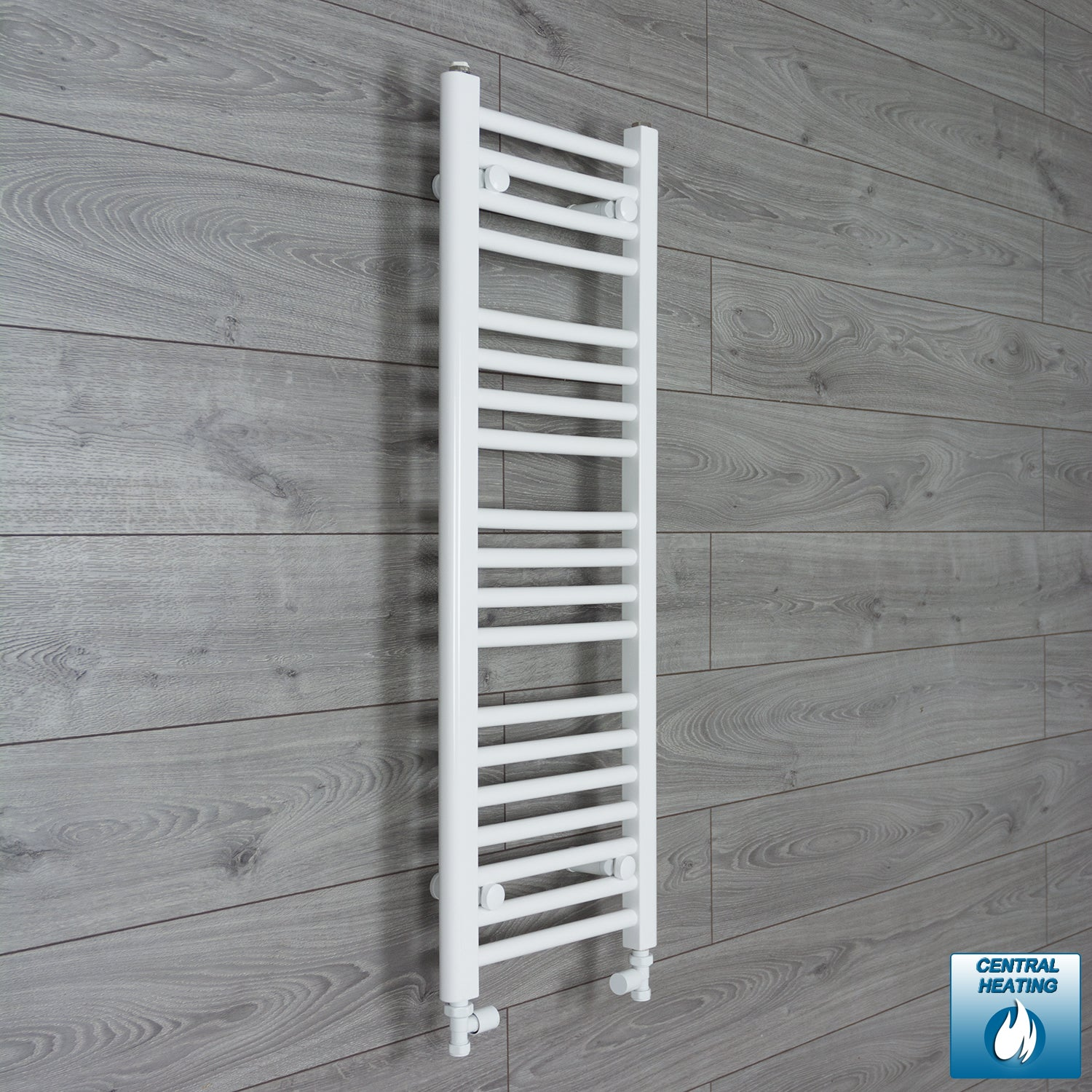 350mm Wide 1000mm High White Towel Rail Radiator With Straight Valve