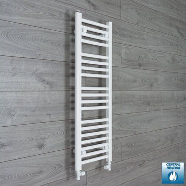 300mm Wide 1000mm High White Towel Rail Radiator With Straight Valve
