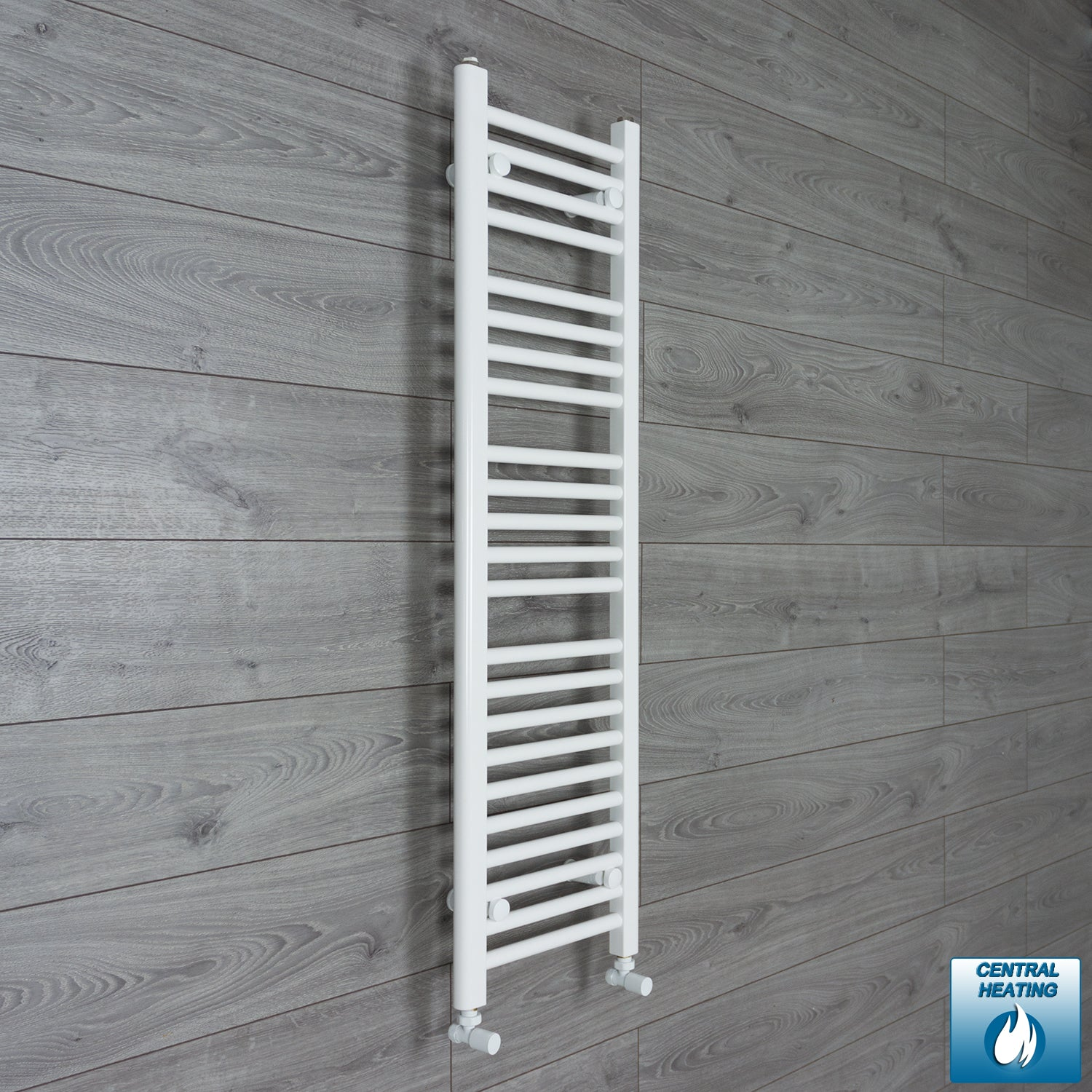350mm Wide 1200mm High White Towel Rail Radiator With Angled Valve