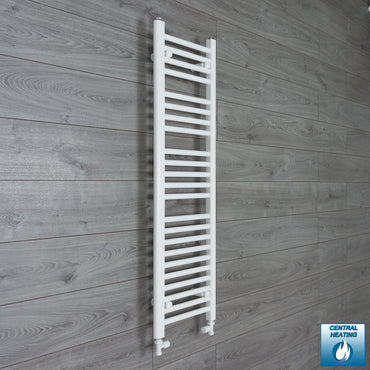 300mm Wide 1200mm High White Towel Rail Radiator With Straight Valve