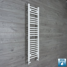 Load image into Gallery viewer, 350mm Wide 1200mm High White Towel Rail Radiator With Straight Valve