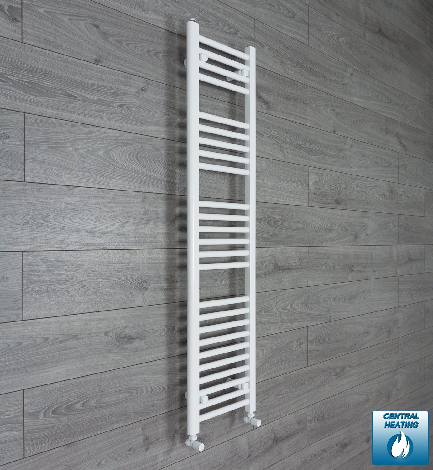 300mm Wide 1400mm High White Towel Rail Radiator With Angled Valve