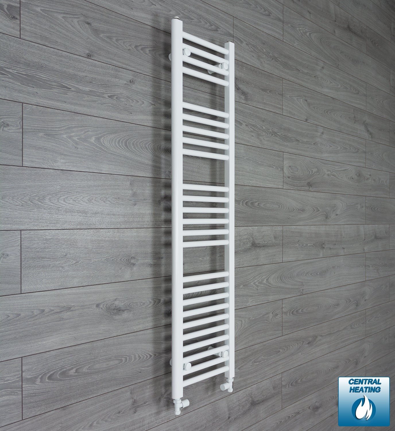 300mm Wide 1400mm High White Towel Rail Radiator With Straight Valve
