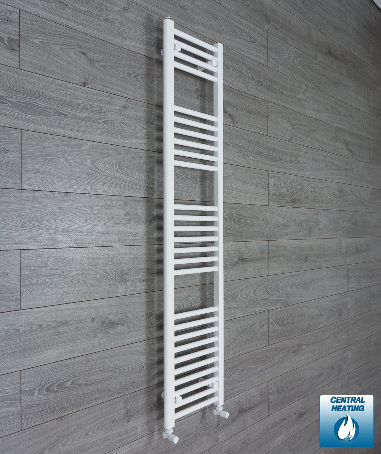 300mm Wide 1600mm High White Towel Rail Radiator With Angled Valve