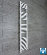 300mm Wide 1600mm High White Towel Rail Radiator With Straight Valve