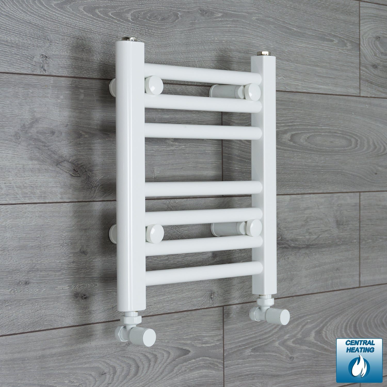 350mm Wide 400mm High White Towel Rail Radiator With Angled Valve