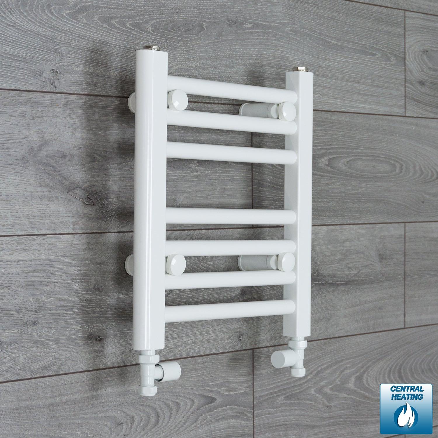350mm Wide 400mm High White Towel Rail Radiator With Straight Valve