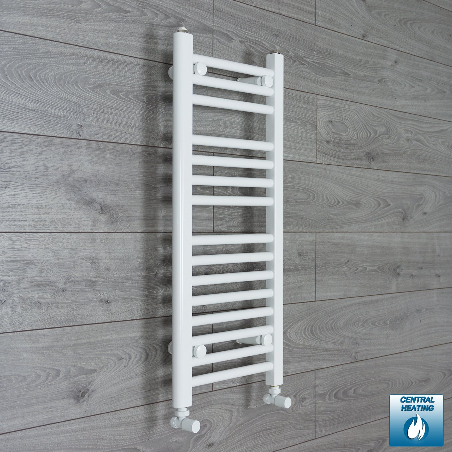 300mm Wide 800mm High White Towel Rail Radiator With Angled Valve