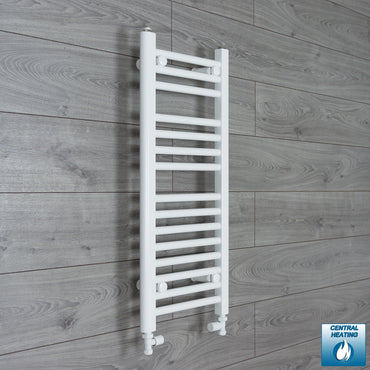 300mm Wide 800mm High White Towel Rail Radiator With Straight Valve