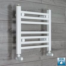 Load image into Gallery viewer, 400mm Wide 400mm High White Towel Rail Radiator With Angled Valve