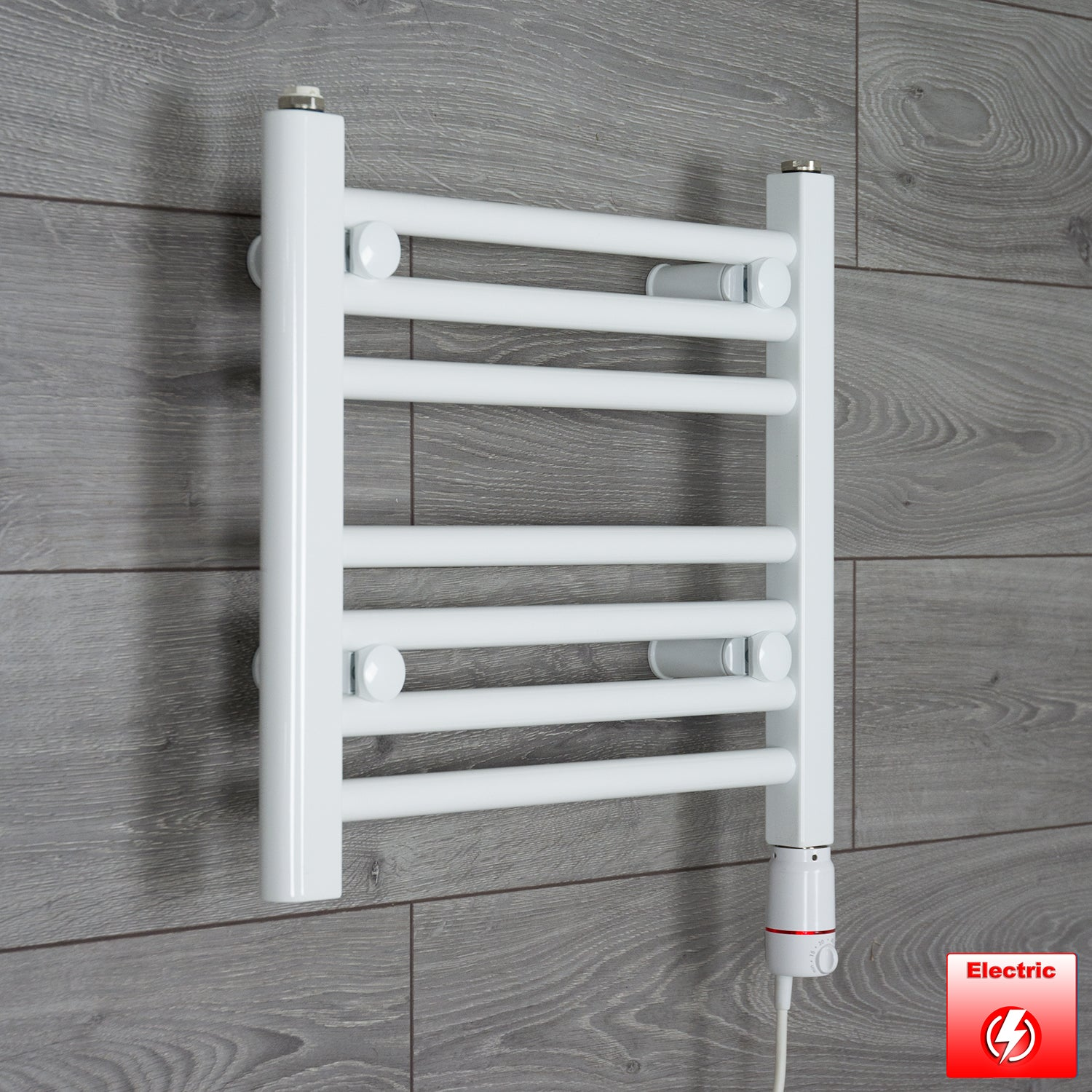 500mm Wide 400mm High Pre-Filled White Electric Towel Rail Radiator With Thermostatic GT Element