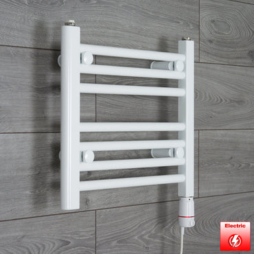 450mm Wide 400mm High Pre-Filled White Electric Towel Rail Radiator With Thermostatic GT Element