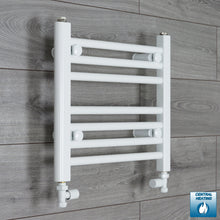 Load image into Gallery viewer, 450mm Wide 400mm High White Towel Rail Radiator With Straight Valve