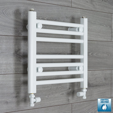 450mm Wide 400mm High White Towel Rail Radiator With Straight Valve