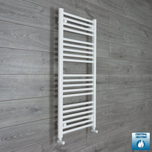 Load image into Gallery viewer, 600mm x 1100mm High White Towel Rail Radiator With Angled Valve