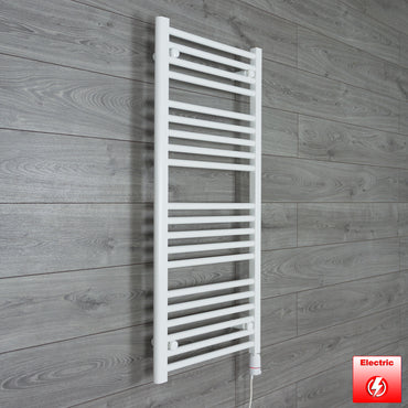 600mm Wide 1100mm High Pre-Filled White Electric Towel Rail Radiator With Thermostatic GT Element