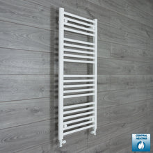 Load image into Gallery viewer, 600mm x 1100mm High White Towel Rail Radiator With Straight Valve