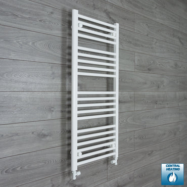 600mm x 1100mm High White Towel Rail Radiator With Straight Valve