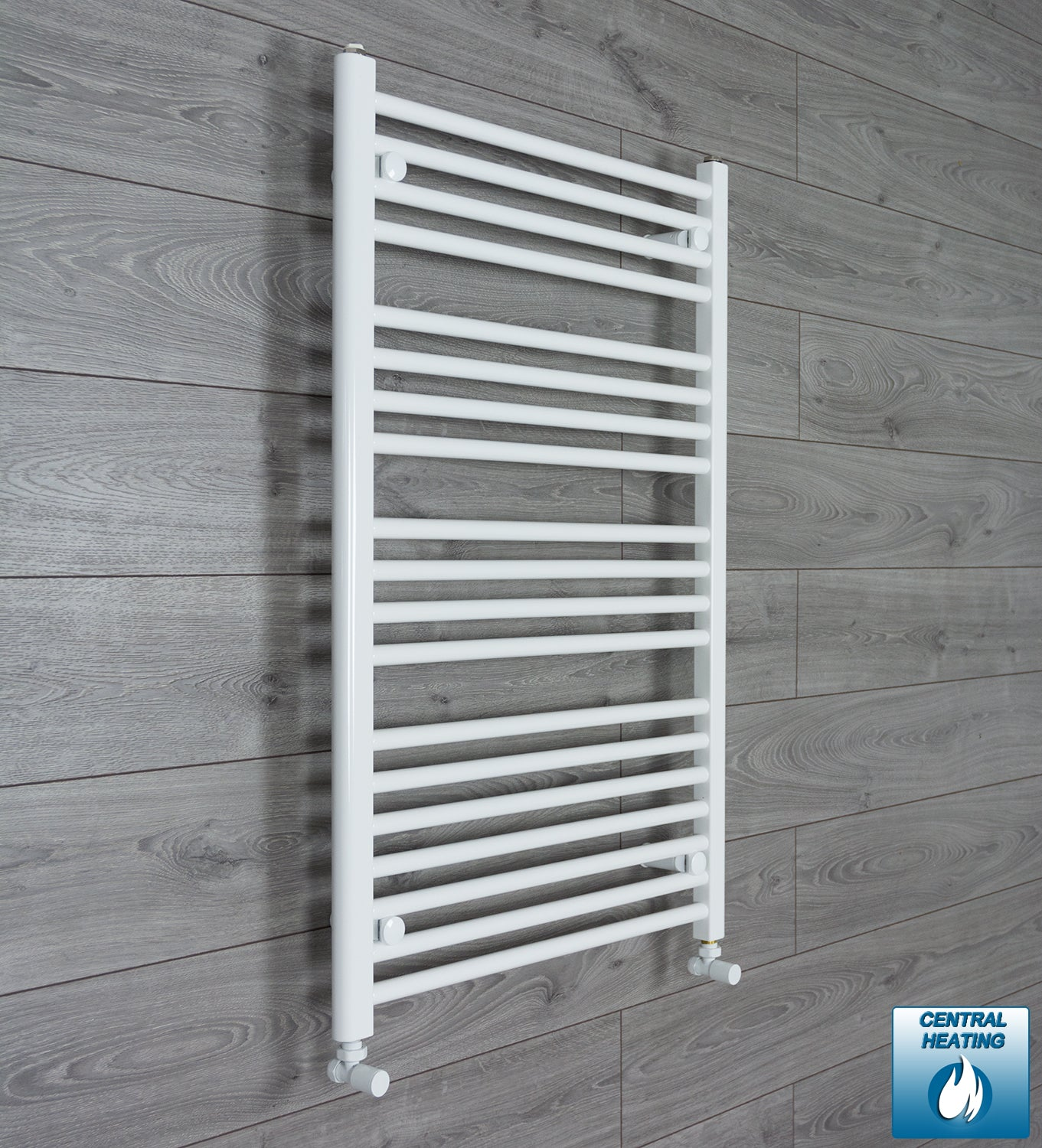 650mm Wide 1000mm High White Towel Rail Radiator With Angled Valve