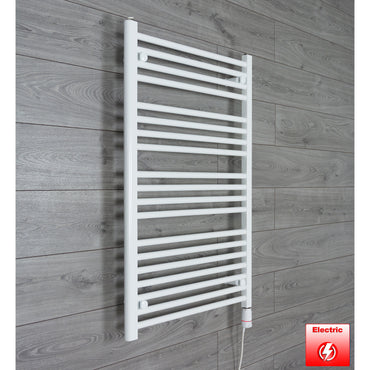 700mm Wide 1000mm High Pre-Filled White Electric Towel Rail Radiator With Thermostatic GT Element