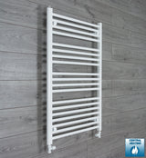 650mm Wide 1000mm High White Towel Rail Radiator With Straight Valve