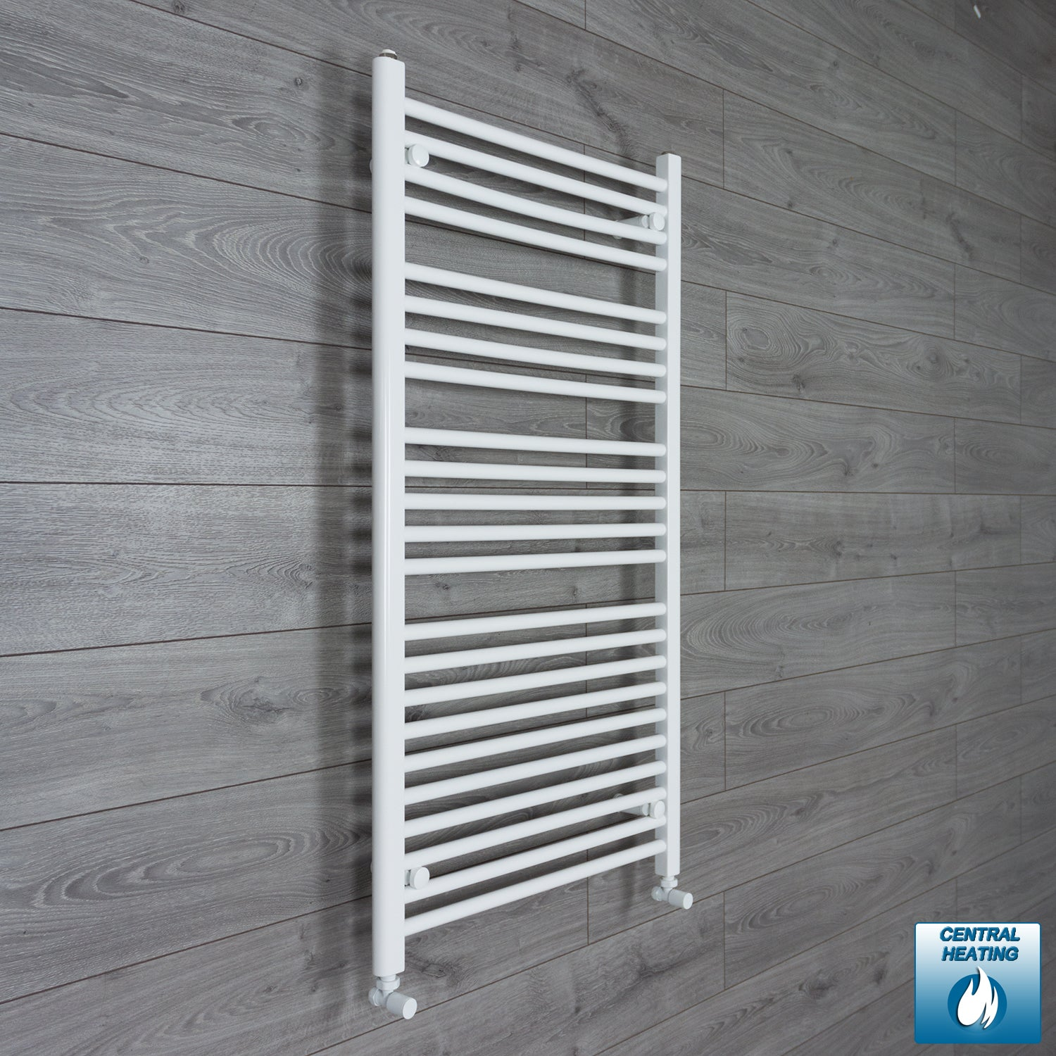 700mm Wide 1200mm High White Towel Rail Radiator With Angled Valve